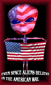 alien with American flag