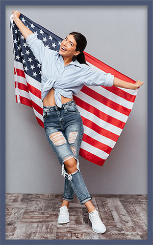 young woman American Flag