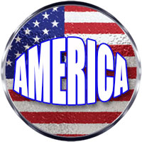 America on an American flag round with steel trim