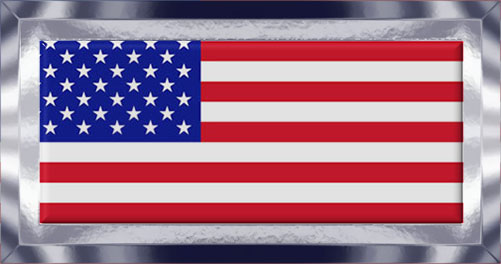 American flag with metal frame