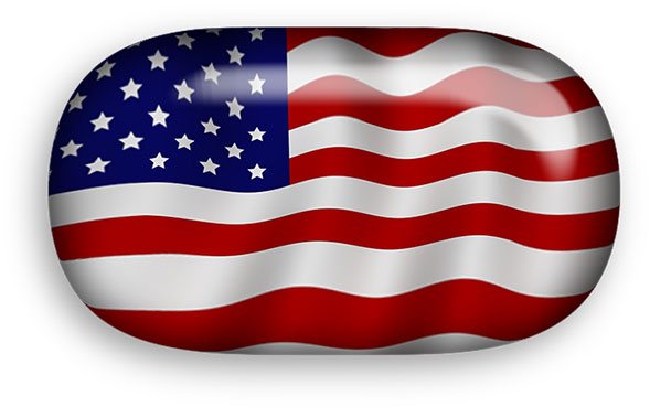 oval shaped American flag