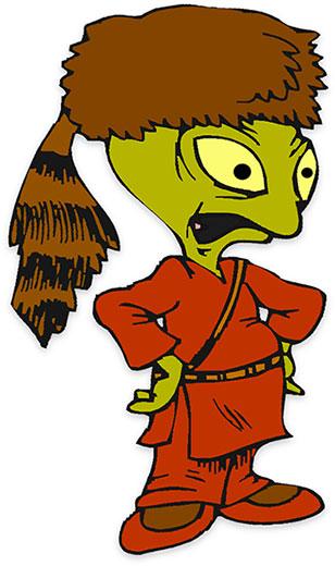 Alien green head cartoon icon Royalty Free Vector Image