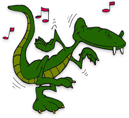alligator dancing to the music