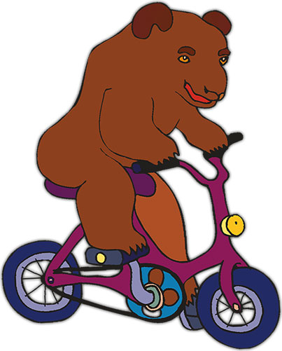 bear riding bicycle