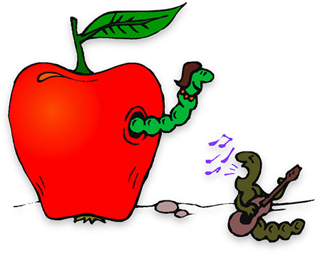 two worms and an apple