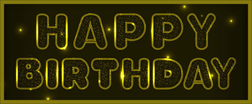Golden Happy Birthday On A Dark Background With Frame