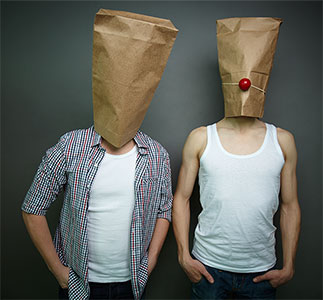 guys with paper bags