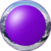 purple glass button with chrome trim