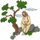 Jesus by a tree