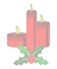white background with Christmas Candles