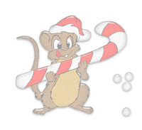 happy mouse on Christmas morning