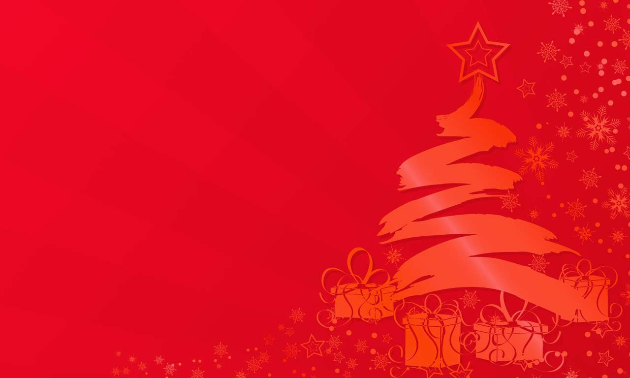 Christmas background image red field with Christmas tree and presents