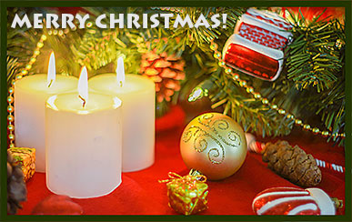 Merry Christmas candles decorations