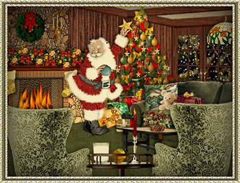 Santa in decorated house