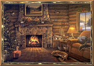 Christmas scene with fireplace and tree