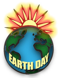 Earth Day with the sun behind the earth