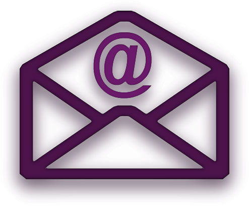 purple envelope with @