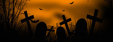 graveyard with bats