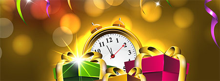 New Year with clock