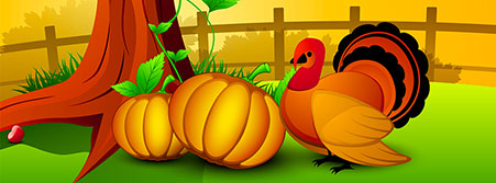 Thanksgiving pumpkins and turkey