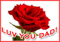 love you dad with red rose