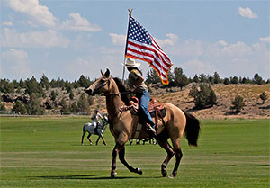 horse and rider with flag
