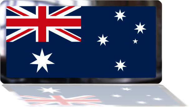 Australian Flag in frame with reflection