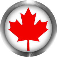 canadian flag button with steel trim
