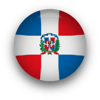Dominican Republic flag button round