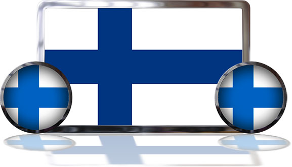 Finland Flags with reflections