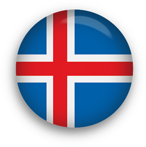 Iceland Flag button round
