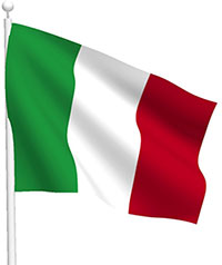 Italian Flag on Pole