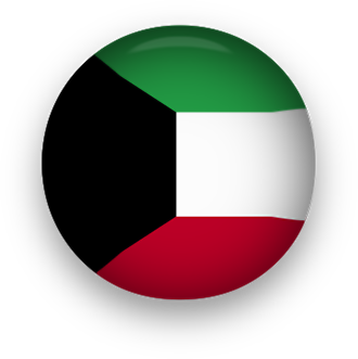 Kuwait Flag button round