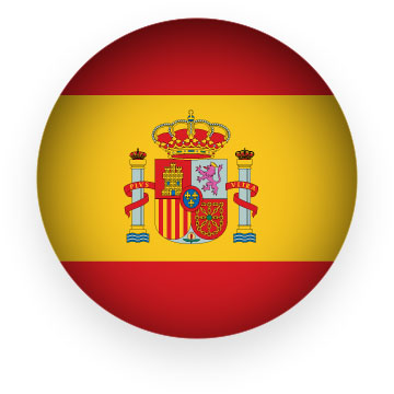 Spain flag button round