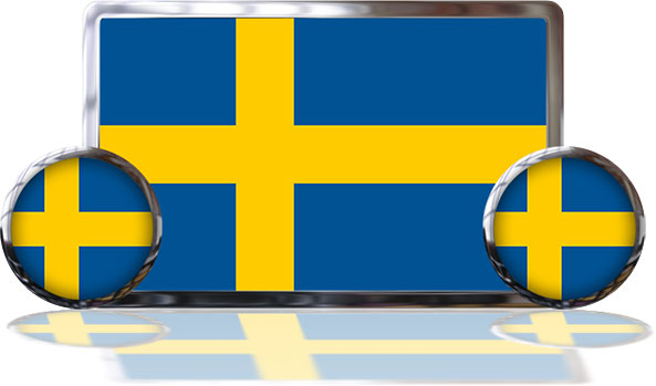 Swedish Flags with reflevtive shadows
