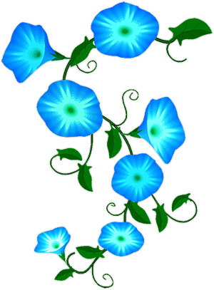 Flower Clipart , Blue and White