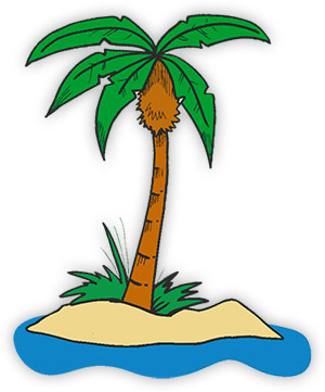 single palm tree on an island