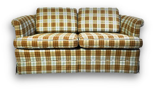 sofa with a check pattern