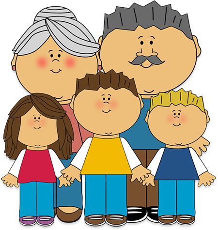 grandparents and grandchildren clipart