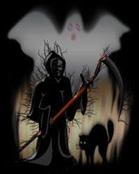 grim reaper, black cat and ghost background