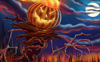 scary jack-o'-lantern halloween background