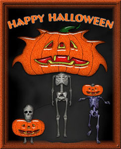 funny skeletons and Happy Halloween