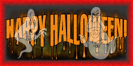 happy halloween sign two ghosts