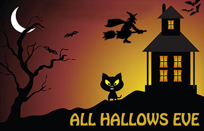 all hallows eve with black cat and haunted house