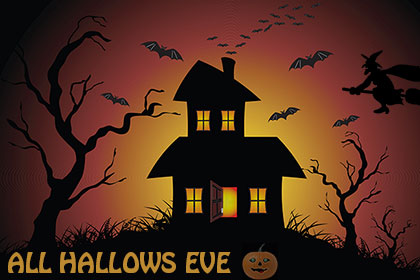 all hallows eve with bats and jack-o'-lantern