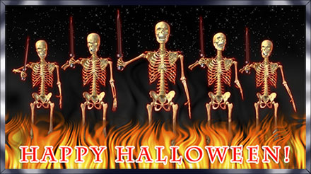 Happy Halloween with skeletons