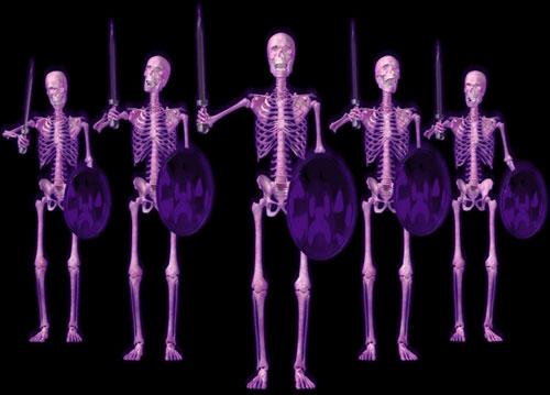 skeletons with swords and shields