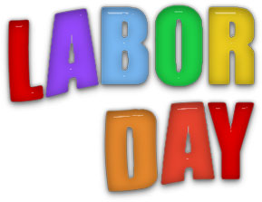 labor day sign in bright colors
