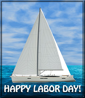 Happy Laboy Day with sailboat
