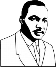 Martin Luther King Jr. in black and white